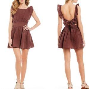 Free People Erin Mini Brown Apron Dress